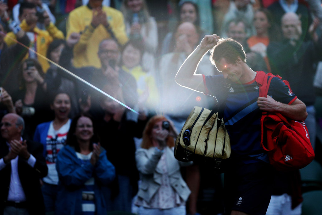 Great Britain's Andy Murray celebrated after winning the men's singles tennis semifinal.