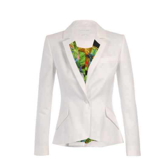 Try: Try a printed lapel if all-over patterns aren't your thing. Tropical prints look crisp and modern next to pristine white. Wear it with: A slick black pencil skirt and killer heels.  Buy: Blazer, approx $605, Altuzarra at Browns
