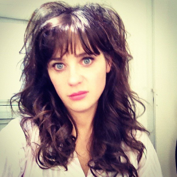 Zooey Deschanel showed off a hairdo for Jess on the set of New Girl. Source: Instagram user zooeydeschanel