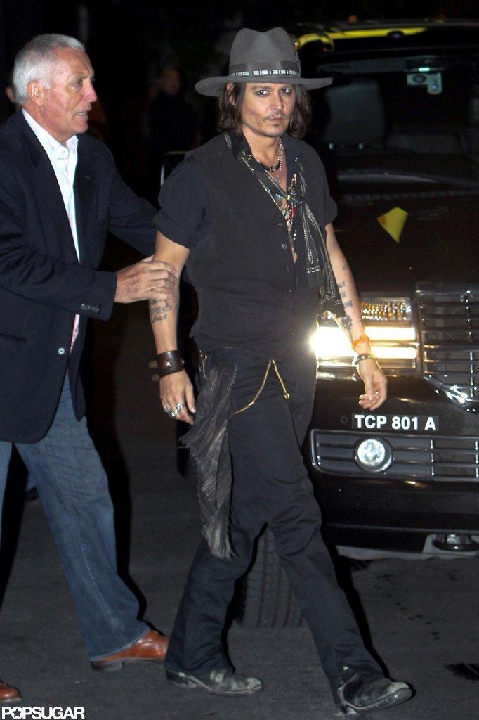 Johnny Depp made his way into Aerosmith's afterparty in LA.