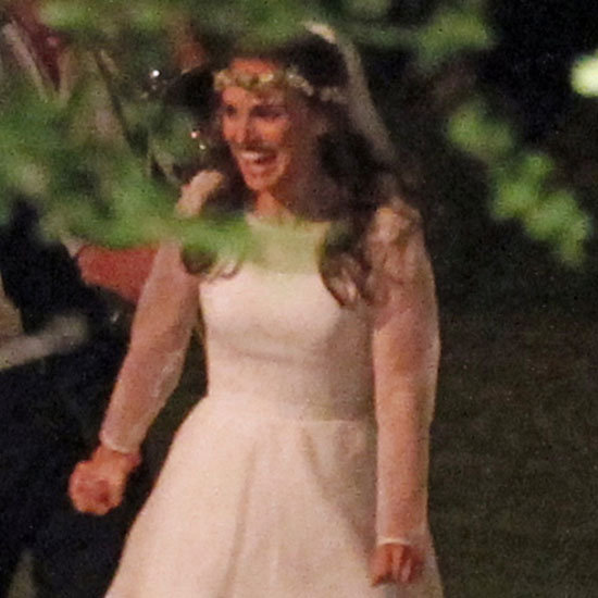 Natalie Portman wore a Rodarte-designed wedding dress.