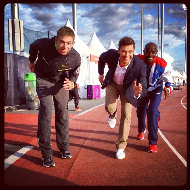 Ryan Seacrest made a run for it with Olympians Mo Farah and Galen Rupp. Source: Instagram user ryanseacrest