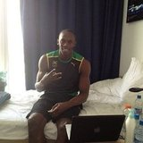 The fastest man in the world, Usain Bolt, snapped a pic in his room.  Source: Twitter user usainbolt