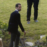 Benjamin Millepied wore a black suit for his wedding.