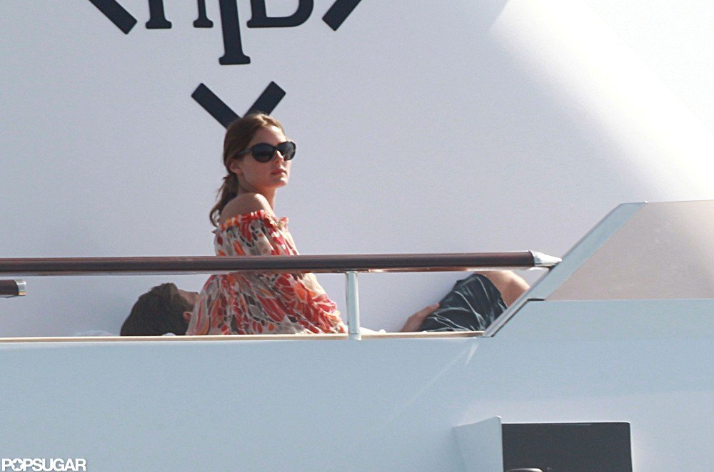 Olivia Palermo relaxed on board a yacht beside her boyfriend Johannes Huebl.