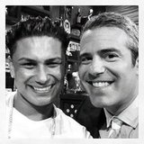 Andy Cohen shared a photo of himself with Pauly D on the set of Watch What Happens Live. Source: Instagram user bravoandy