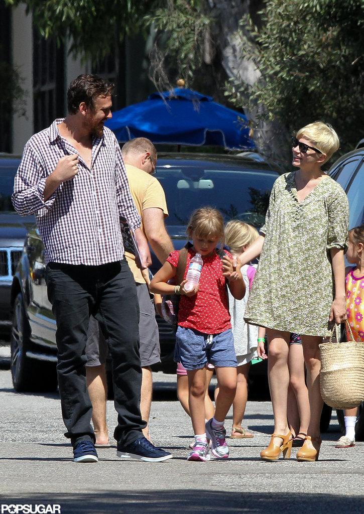 Michelle Williams and Jason Segel walked Matilda to gymnastics in LA.