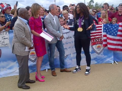 Gold medalist Serena Williams made an appearance on Today. Source: Twitter user todayshow