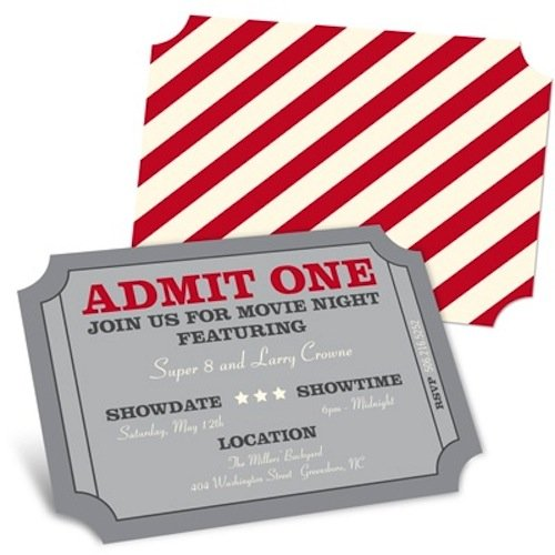 Set the tone by alerting guests with these Movie Night Invitations ($14 for eight).