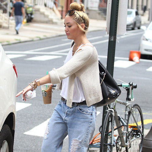 Miley Cyrus Wearing Ripped Boyfriend Jeans