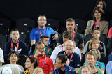 David Beckham watched beach volleyball with Cruz Beckham, Brooklyn Beckham, and Romeo Beckham.