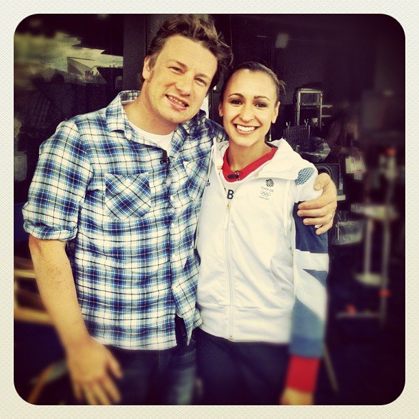 Jamie Oliver got excited to meet Great Britain gold medalist Jessica Ennis. Source: Instagram user jamieoliver