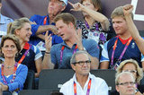 Prince Harry and Laura Trott chatted as they watched beach volleyball.