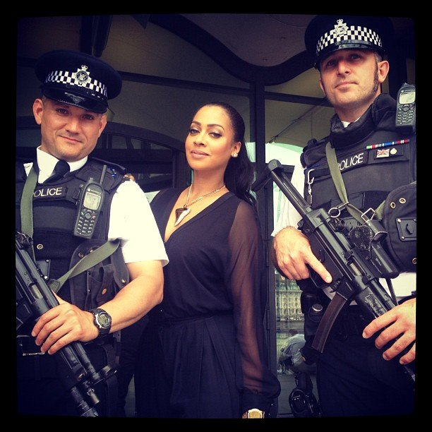 Lala posed with London's finest. Source: Instagram user lala