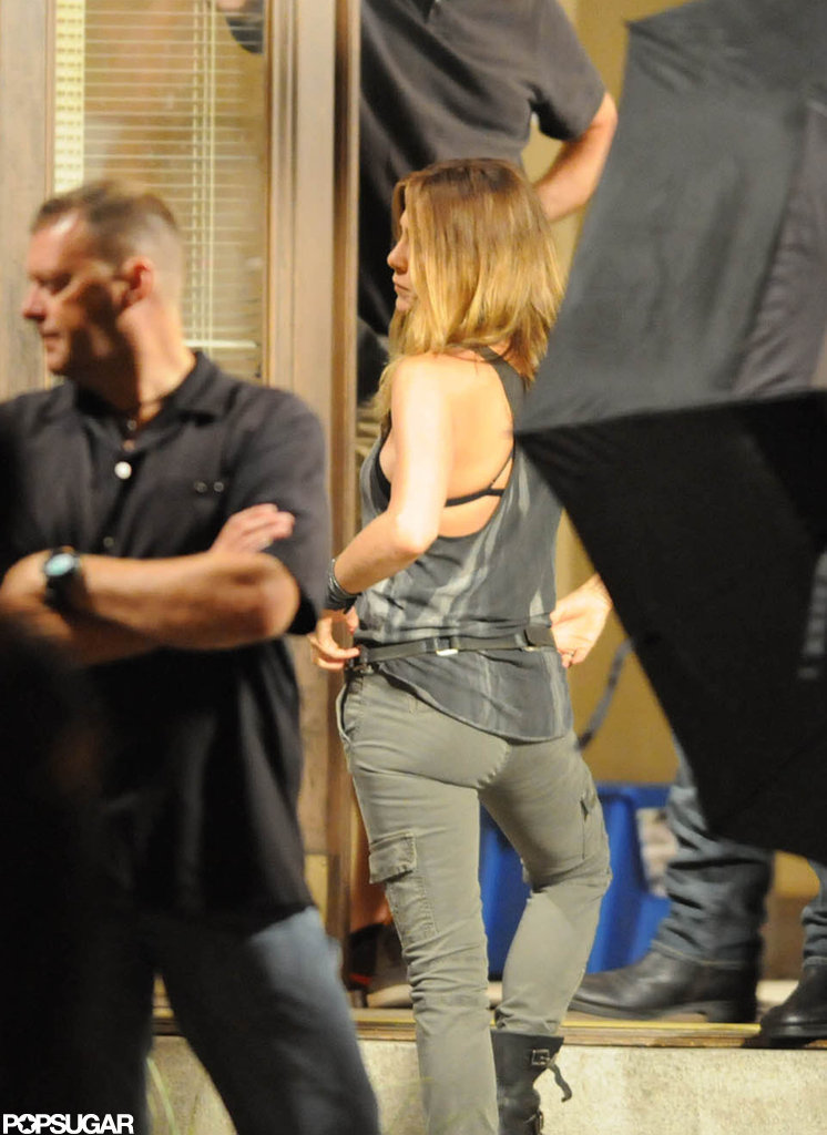 Jennifer Aniston's black bra was showing under her tank on the set of We're the Millers.