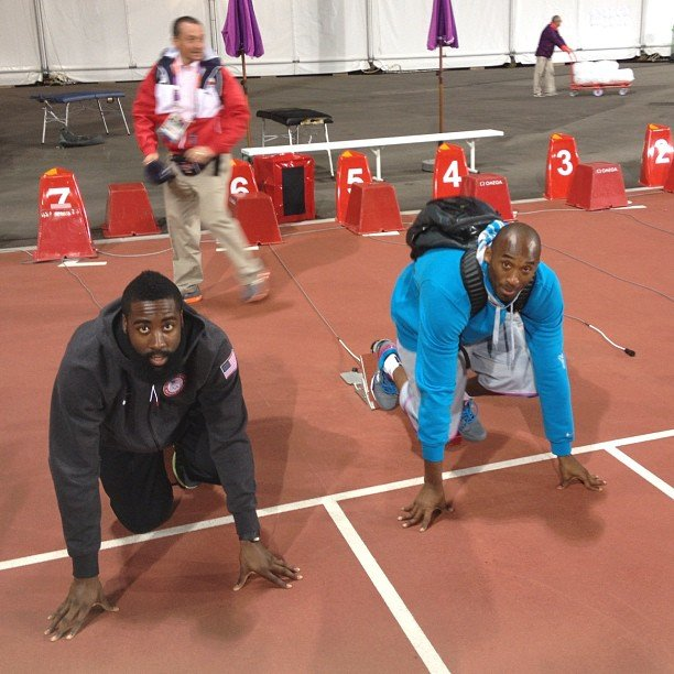 Kobe Bryan and James Harden tried to join the track team. Source: Instagram user kevinlove