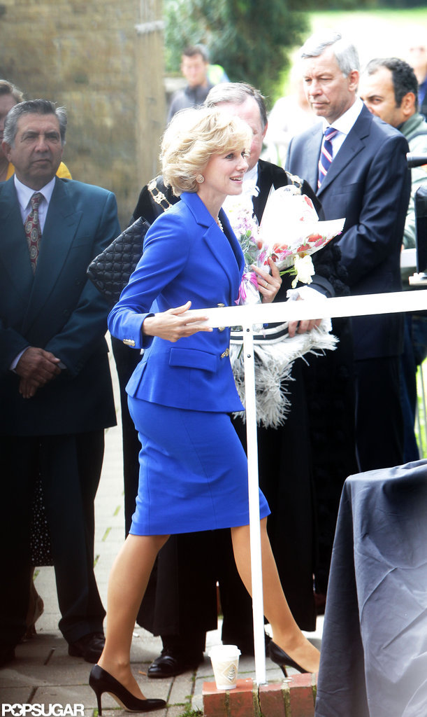 Naomi Watts wore a blue suit to play Princess Diana.