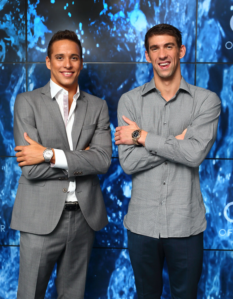 Michael Phelps posed with Chad le Clos at a party in London.