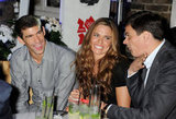 Michael Phelps joked with Natalie Coughlin and Alexander Popov at a party in London.
