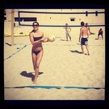 Brooke Burke played beach volleyball in a bikini. Source: Instagram user thebrookeburke
