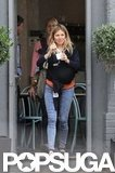 Sienna Miller sported jeans and flats as she stepped out with baby Marlowe Sturridge.