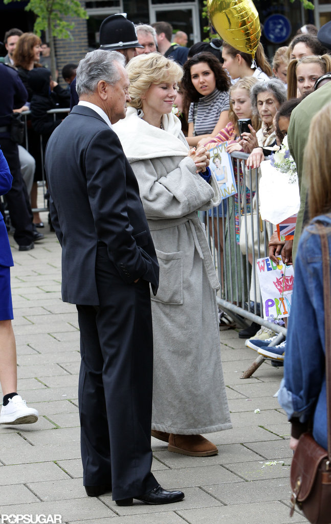 Naomi Watts was on set as Princess Diana.