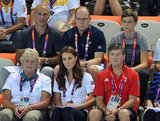 The Duchess of Cambridge sat in front of fellow royal Prince Albert II during the women's synchronized swimming event.