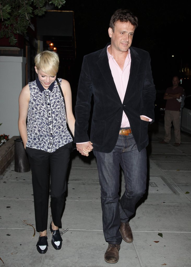 Jason Segel got dressed up in a blazer for a night out with Michelle Williams in LA.