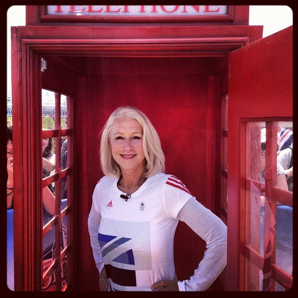 Helen Mirren posed in a classic London phone booth at the Today show. Source: Instagram user todayshow