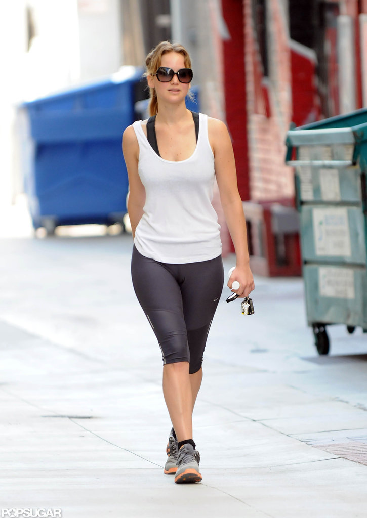 Jennifer Lawrence stayed in shape by hitting up the gym.