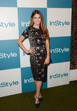 Nikki Reed opted for a much more conservative approach to last night's InStyle dress code, donning a black floral-printed short-sleeved Jill Stuart sheath with T-strap heels by Alexandre Birman.