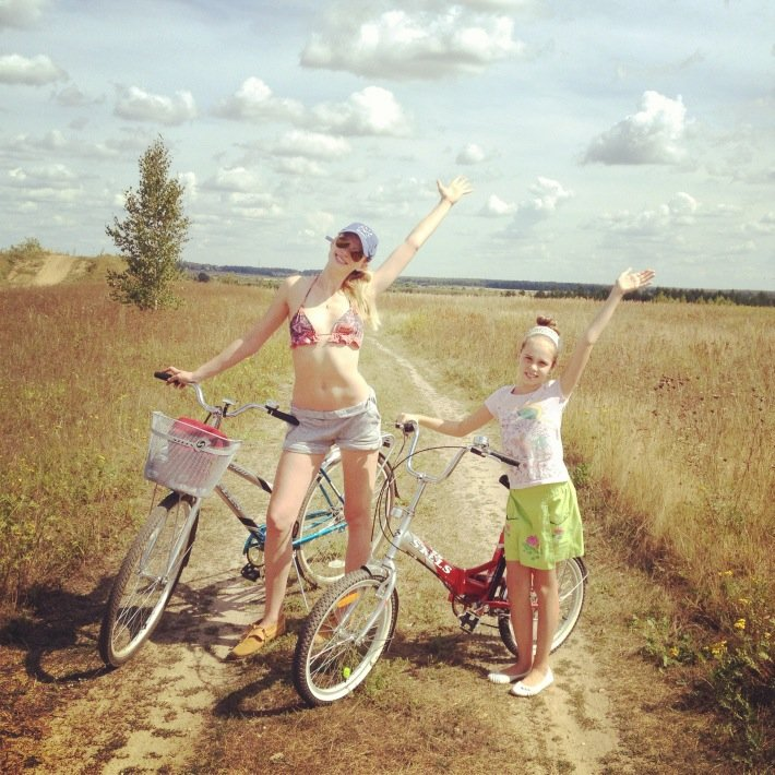 Anne V. went for a bike ride in her bikini. Source: Twitter user AnneV