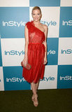 Jaime King made her siren statement in a gorgeous red one-shouldered Marchesa dress from the brand's Resort 2013 collection. The sheer detailing, along with delicate ruffles and a subtle peplum pop, made her dress choice extraspecial. To round out the ensemble, she wore nude Jimmy Choo sandals.