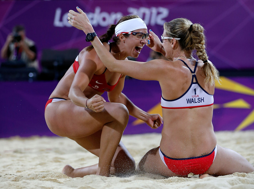 Veterans Misty May-Treanor and Kerri Walsh Jennings were ecstatic as they celebrated — for the third consecutive time — a gold medal win in women's beach volleyball.