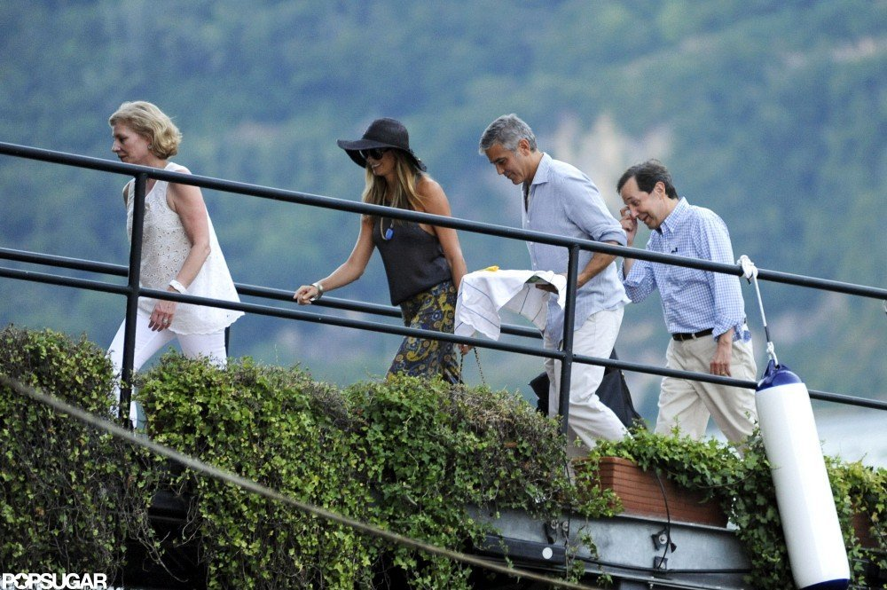 George Clooney and Stacy Keibler hung out with friends in Lake Como.