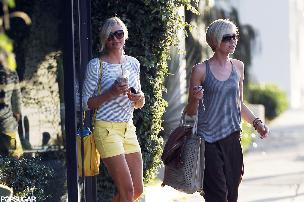 Cameron Diaz and Portia de Rossi left the hair salon at the same time.