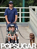 Tom Brady pushed a stroller in Boston.
