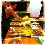 The Sugar office indulged in a little Hump Day treat — tasty, tasty pizza, and LOTS of it.