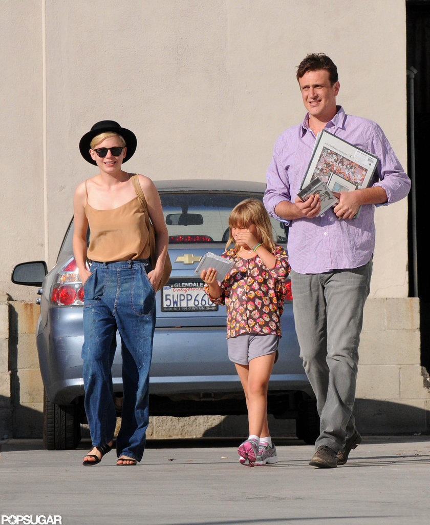Michelle Williams wore a black hat for an outing with Jason Segel and Matilda Ledger in LA.