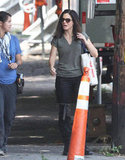 Sandra Bullock sported shades on set.