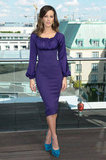 Kate Beckinsale wore a purple dress for the Total Recall photocall in Berlin.