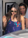 Mila Kunis left a restaurant in LA.
