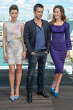 Jessica Biel, Colin Farrell, and Kate Beckinsale posed together at the Total Recall photocall in Berlin.