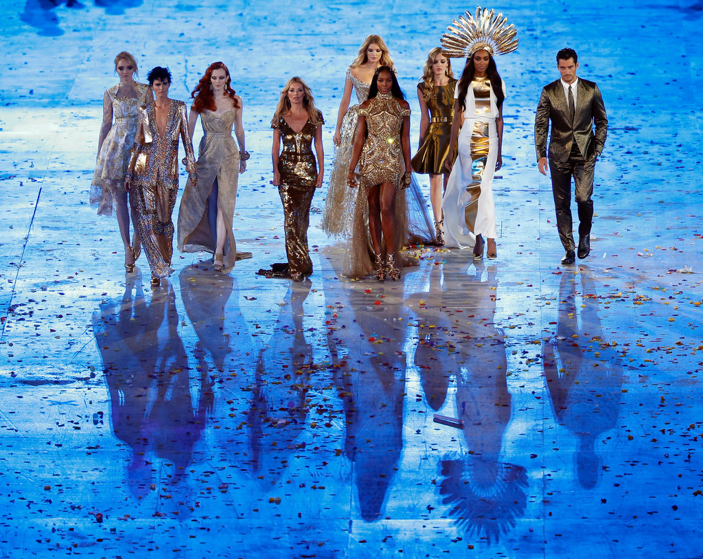 A gilded army of British supermodels took the stage, including none other than Kate Moss, Naomi Campbell, Karen Elson, and Jourdan Dunn.