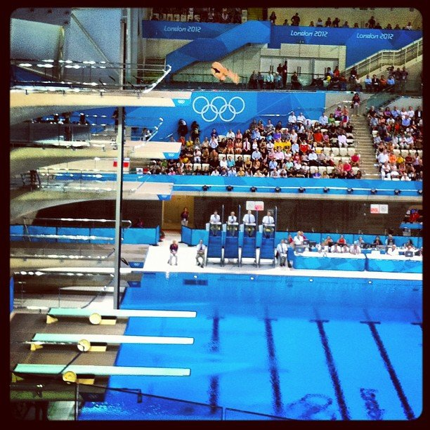 Stephanie Rice watched some diving. Source: Instagram user itsstephrice