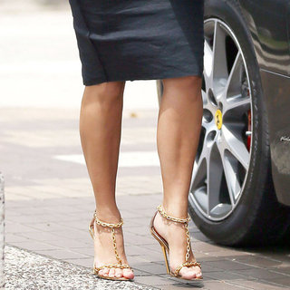 Kim Kardashian Wearing Gold Chain Sandals (Pictures and Shopping)