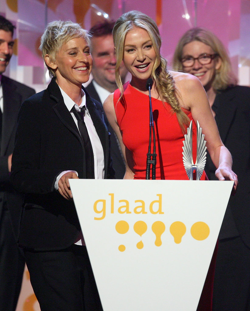 Portia de Rossi and Ellen DeGeneres took the stage at the April 2009 GLAAD Media Awards in LA.