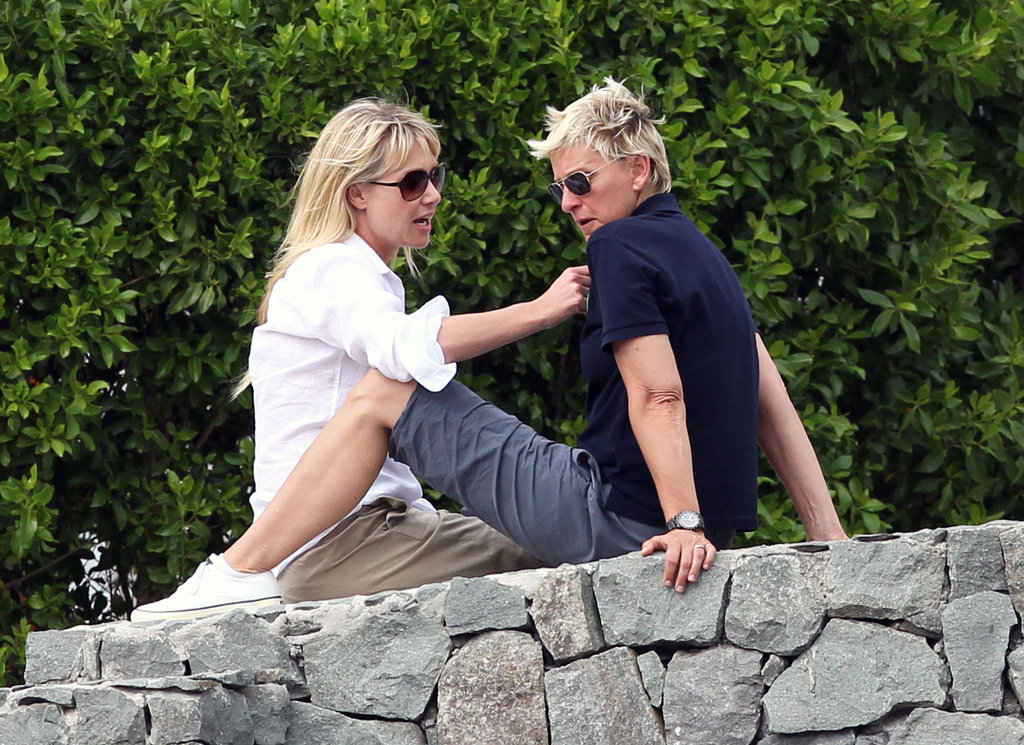 Ellen DeGeneres and Portia de Rossi lounged while vacationing in France in December 2010.