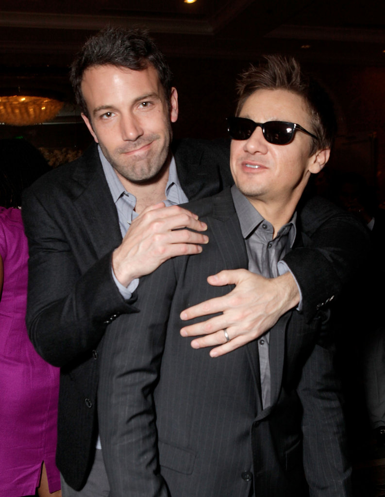 Ben Affleck gave his The Town costar Jeremy Renner a hug inside LA's BAFTA Awards in January 2011.