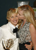 Portia de Rossi kissed Ellen DeGeneres after her Emmy win in June 2007.